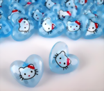 Hello Kitty Knopf in hellblau 16x18 mm Kunststoff