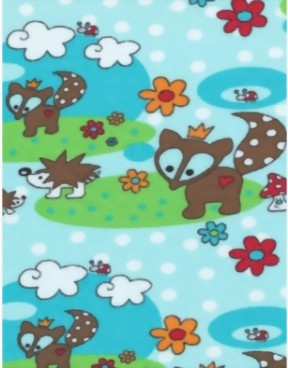 Little Fox Bio-Stretch Jersey türkis-blau-bunt 1,70x0,50 m